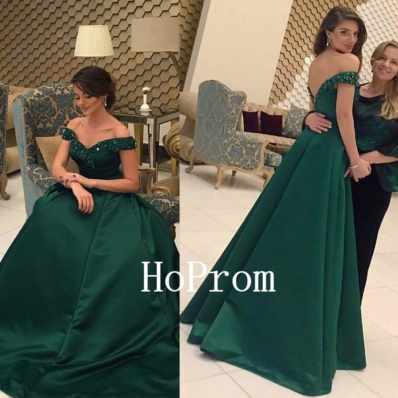 Off Shoulder Prom Dress,Green Prom Dresses,Long Evening Dress