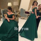 Off Shoulder Prom Dress,Green Prom Dresses,Long Evening Dress