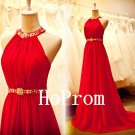 Halter Prom Dress,Red Prom Dresses,A-Line Evening Dress