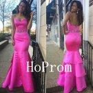 Hot Pink Prom Dress,Sheath Prom Dresses,Mermaid Evening Dress
