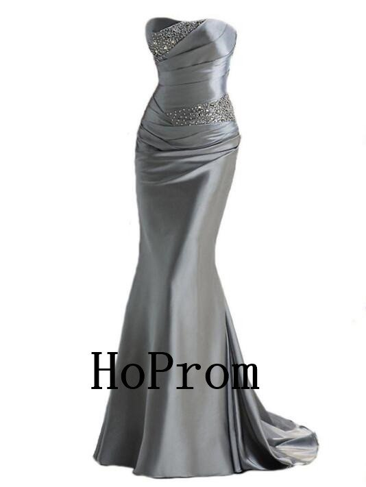 Grey Satin Prom Dress,Strapless Prom Dresses,Long Evening Dress