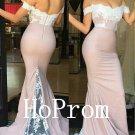 Pink Mermaid Prom Dress,Lace Satin Prom Dresses,Long Evening Dress