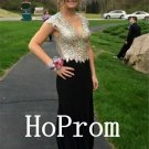 Cap Sleeve Prom Dress,Beadings Prom Dresses,Long Evening Dress