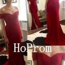 Burgundy Prom Dress,Off Shoulder Prom Dresses,Long Evening Dress