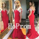 Off Shoulder Prom Dress,Red Prom Dresses,Mermaid Evening Dress