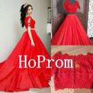 Long Sleeve Prom Dress,Red Lace Prom Dresses,Long Evening Dress
