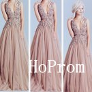 V-Neck Prom Dress,Applique Prom Dresses,Long Evening Dress