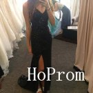 Black Sparkle Prom Dress,V-Neck Prom Dresses,Long Evening Dress