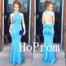 Blue Backless Prom Dress,Sheath Prom Dresses,Mermaid Evening Dress