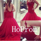 Red Tulle Prom Dress,Mermaid Prom Dresses,Long Evening Dress