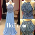 Long Halter Prom Dress,A-Line Prom Dresses,Beading Evening Dress