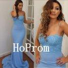 Spaghetti Straps Prom Dress,Blue Prom Dresses,Mermaid Evening Dress
