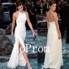 Simple White Prom Dress,Halter Prom Dresses,Long Evening Dress