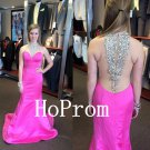 Hot Pink Prom Dress,High Neck Prom Dresses,Evening Dress