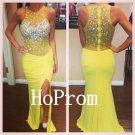 Yellow Mermaid Prom Dress,Beading Prom Dresses,Evening Dress