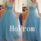 Light Blue Prom Dress,Sleeveless Prom Dresses,Evening Dress