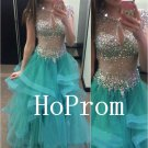 Cap Sleeve Prom Dress,0-Neck Prom Dresses,Evening Dress