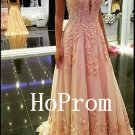 A-Line Prom Dress,Applique Prom Dresses,Evening Dress
