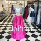 Two Piece Prom Dress,Pink Prom Dresses,Evening Dress