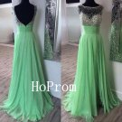Green Chiffon Prom Dress,Beaded Prom Dresses,Evening Dress