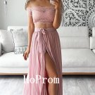 Lace Chiffon Prom Dress,Two Piece Prom Dresses,Evening Dress