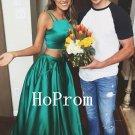 Two Piece Prom Dress,Green Prom Dresses,Evening Dress