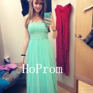 Mint Chiffon Prom DressA-Line Prom Dresses,Evening Dress