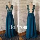 V-Neck Prom Dress,Backless Prom Dresses,Evening Dress