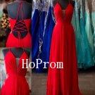 A-Line Prom Dress,Red Chiffon Prom Dresses,Evening Dress