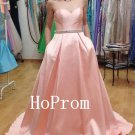 A-Line Pink Prom Dress,Satin Prom Dresses,Evening Dress