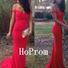 Off Shoulder Prom Dress,Red Prom Dresses,Evening Dress
