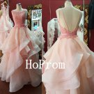 Backless Tulle Prom Dress,Ruffles Prom Dresses,Evening Dress