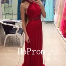 A-Line Prom Dress,Halter Chiffon Prom Dresses,Evening Dress