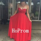 A-Line Prom Dress,Red Chiffon Prom Dresses,Evening Dress