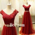 V-Neck Prom Dress,Red Applique Prom Dresses,Evening Dress