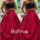 Two Piece Prom Dress,Strapless Prom Dresses,Evening Dress