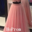 Lace Tulle Prom Dress,High Neck Prom Dresses,Evening Dress