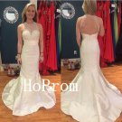 White Mermaid Prom Dress,Floor Length Prom Dresses,Evening Dress
