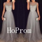 Grey Tulle Prom Dress,Sleeveless Prom Dresses,Evening Dress