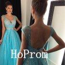 Cap Sleeve Prom Dress,V-Neck Prom Dresses,Evening Dress