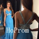 Blue Chiffon Prom Dress,Sleeveless Prom Dresses,Long Evening Dress