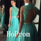 Open Back Prom Dress,Green Chiffon Prom Dresses,Evening Dress