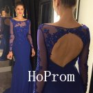 Long Sleeve Prom Dress,Lace Applique Prom Dresses,Evening Dress