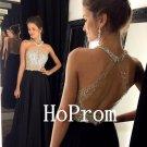 Black Beaded Prom Dress,Halter Prom Dresses,Evening Dress