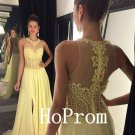 Yellow Chiffon Prom Dress,Sleeveless Prom Dresses,Long Evening Dress