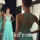 A-Line Prom Dress,Crystals Prom Dresses,Long Evening Dress