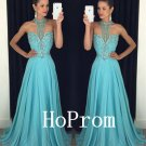 Sweetheart Prom Dress,Halter Prom Dresses,Blue Evening Dress