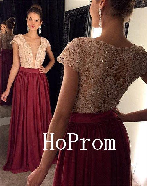 Short Sleeve Prom Dress,Beading Prom Dresses,Long Evening Dress