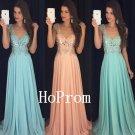 V-neck Prom Dress,Cap Sleeve Prom Dresses,Long Evening Dress