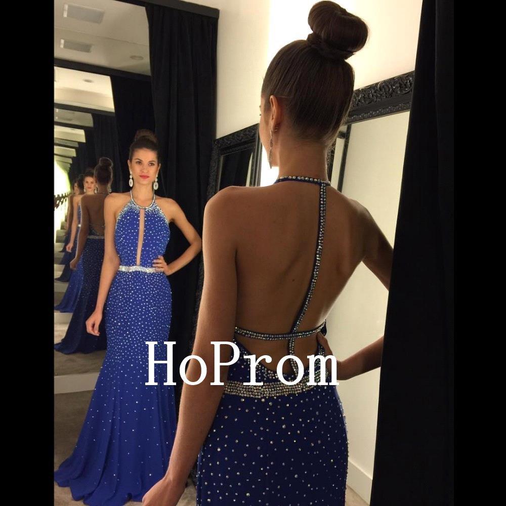 Open Back Prom Dress,Royal Blue Prom Dresses,Long Evening Dress